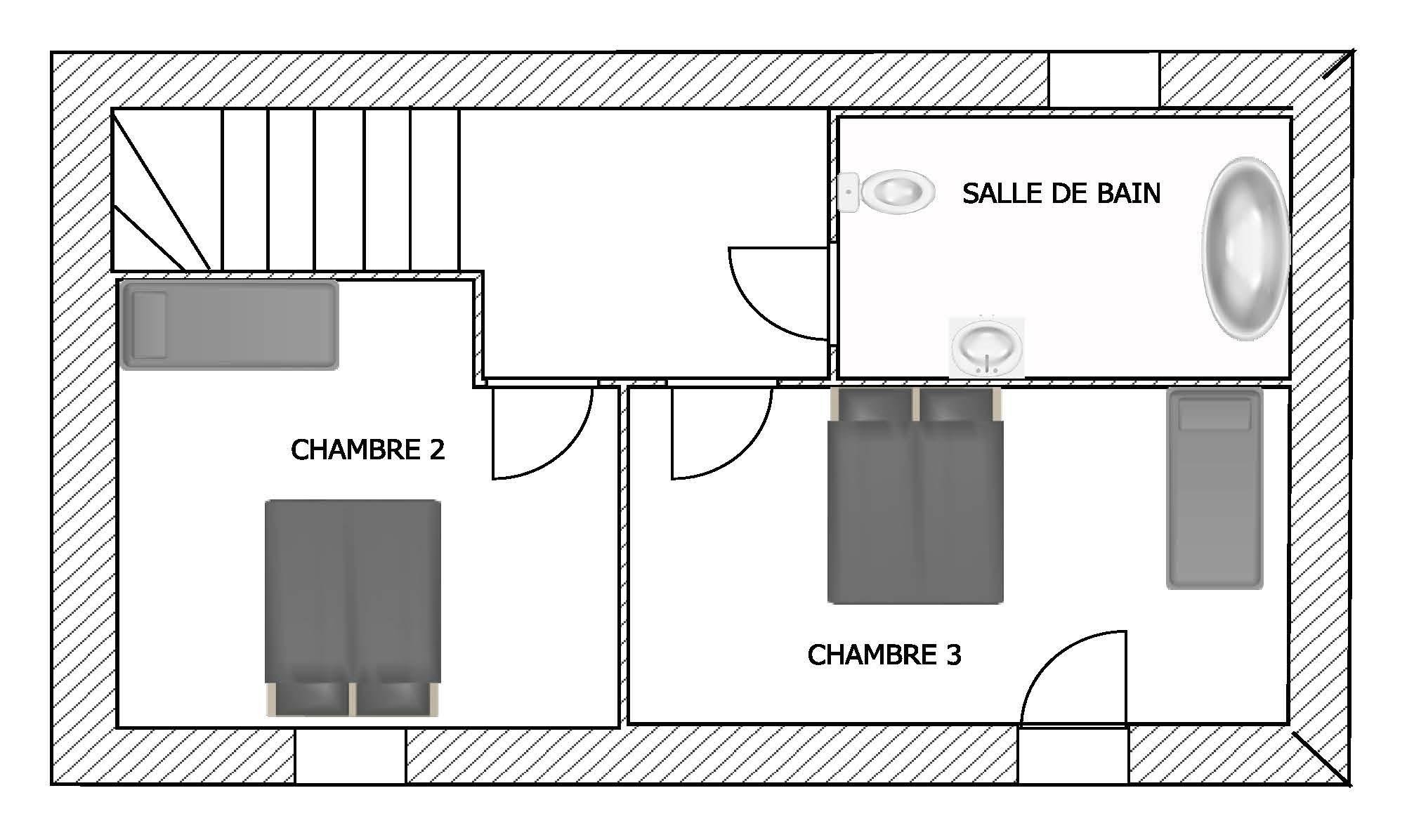 Plan étage Gîte Touraine Les 3 Lys